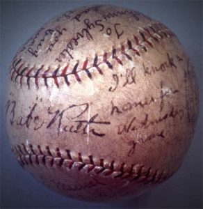 Image of a Babe Ruth signed baseball for Johnny Sylvester