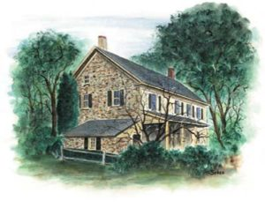 painting of a stone farmhouse with trees in the background