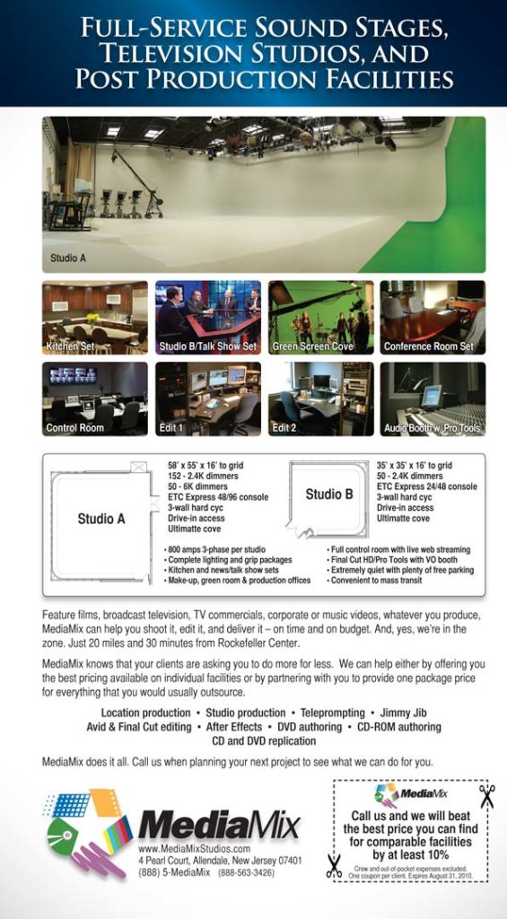 image of a magazine ad promoting a video production facility