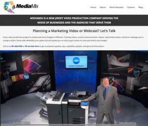 Image of a website for a television production company MediaMix in New Jersey