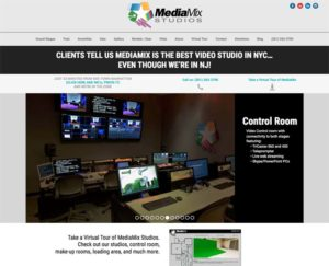 Image of a website for a television production sound stage MediaMix Studios in New Jersey