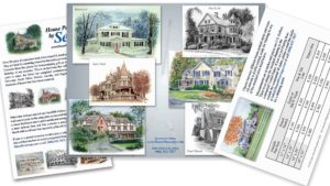image of a brochure featuring an artist's house portraits