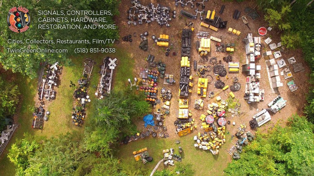 Overhead view of a traffic signal supplier yard